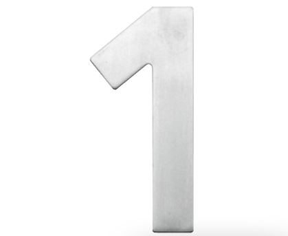 Huisnummer 1 – Plat inox plus