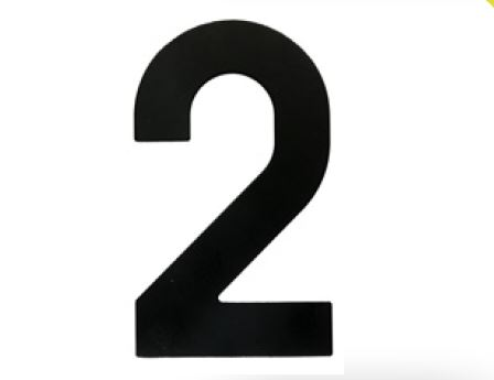 Huisnummer 2 – Plat zwart