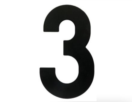 Huisnummer 3 – Plat zwart