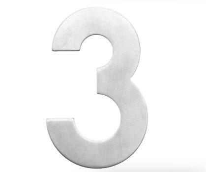 Huisnummer 3 – Plat inox plus