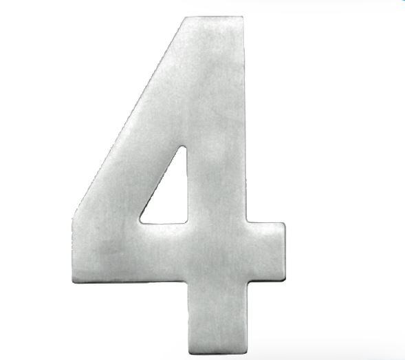 Huisnummer 4 – Plat inox plus