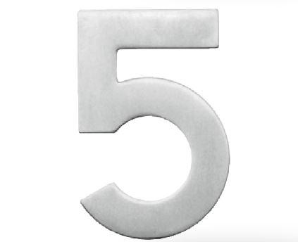 Huisnummer 5 – Plat inox plus