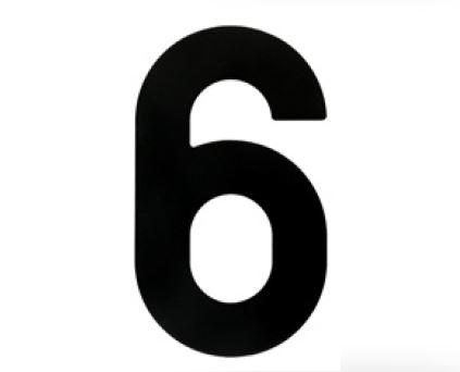 Huisnummer 6 – Plat zwart