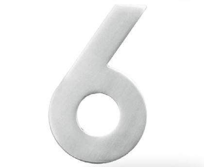 Huisnummer 6 – Plat inox plus