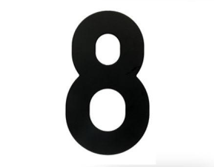 Huisnummer 8 – Plat zwart