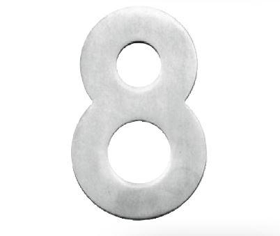 Huisnummer 8 – Plat inox plus