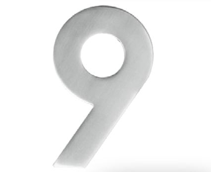 Huisnummer 9 – Plat inox plus