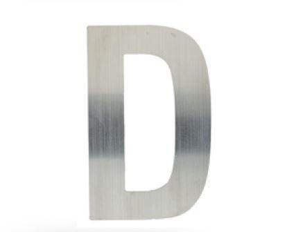 Huisletter D – Plat inox plus
