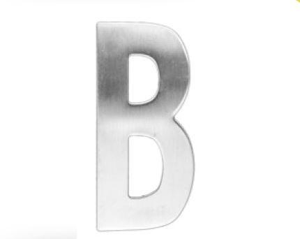 Huisletter B – Plat inox plus
