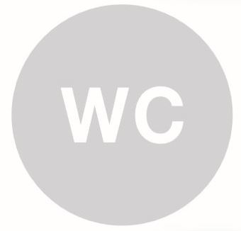 Pictogram, glas, rond, WC
