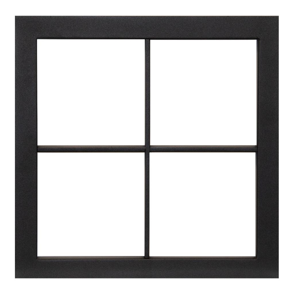 Patrijspoort, zwart staal + helder glas